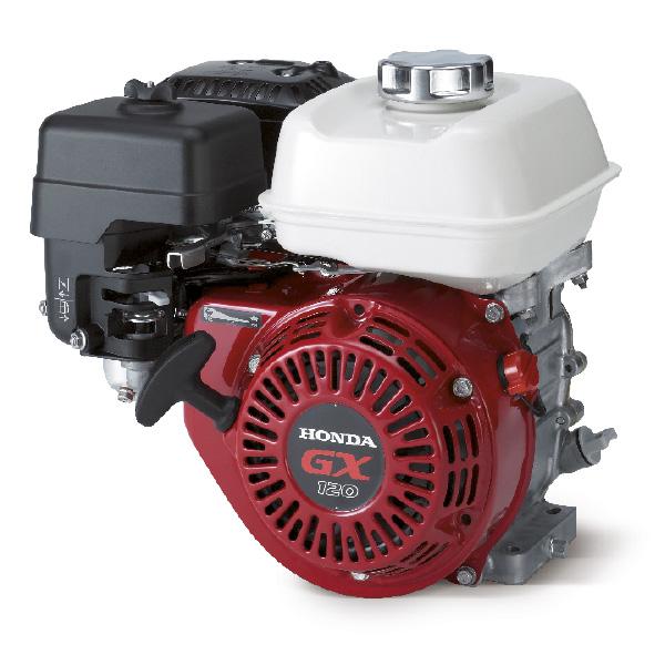 Двигатель Honda GX120 QX4 (4 л.с.) с верхним расположением клапана цилиндра (OHV), горизонтальным валом 3/4 INCH и воздушным охлаждением, цилиндр расположен под углом 25°(Виброплита)